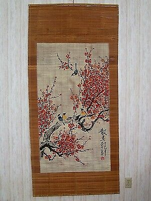 Vintage Bamboo Scroll Wall Hanging Hand Painted Birds & Flowers China Art 1960's
