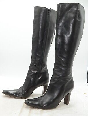 J. Crew Made in Italy Womens Sz 8 High Heel Side Zip City Sleek Leather Boots