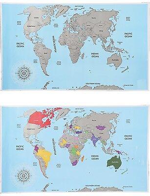 Rubbel Weltkarte im Posterformat Karte Map Landkarte zum Rubbeln Geschenk NEU