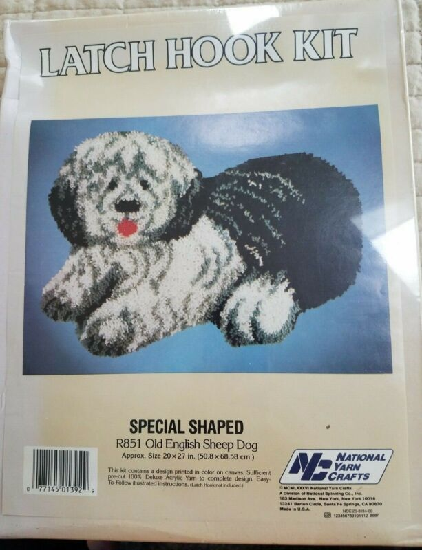 """National Yarn Crafts, Special Shaped """"Old English Sheep Dog"""" Latch Hook Kit NOS"""