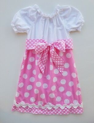 LOLLY WOLLY DOODLE Girls 8 Boutique Dress White Pink Polka Dot Print Ruffle Sash (White Girl Dresses)