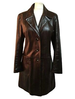BRITISH VTG 90s Wetlook Leather 3/4 Coat Trenchcoat Jacket WW2 TV LUX CHIC UK 14