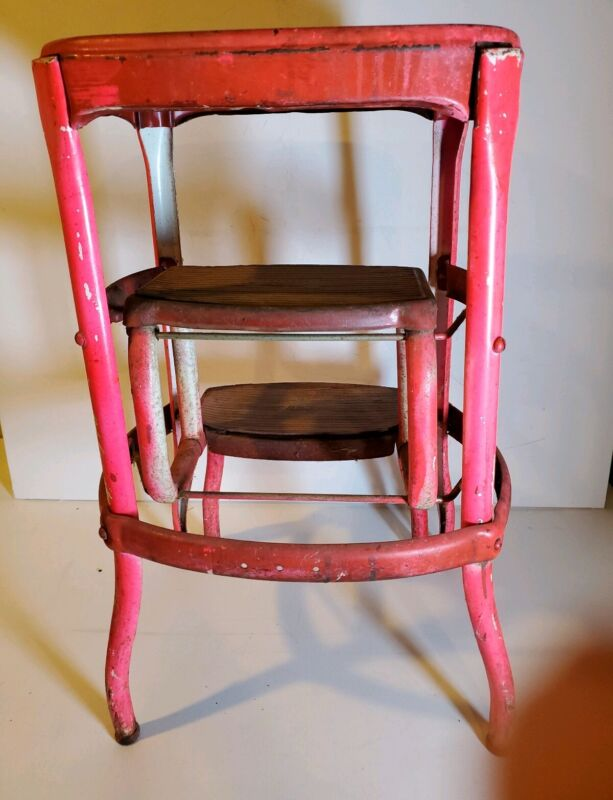 Vintage Red Cosco Retro Step Stool Mid Century Kitchen Decor Made In USA