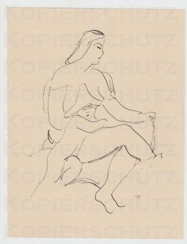 4  Zeichnung drawing Otto Th. W. Stein Chemnitz Studien Skizzen Mutter mit Kind