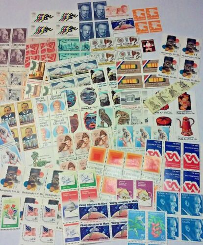 Unused 100 Assorted Mixed Multiples & Singles of 15¢ US Postage Stamps FV $15.00