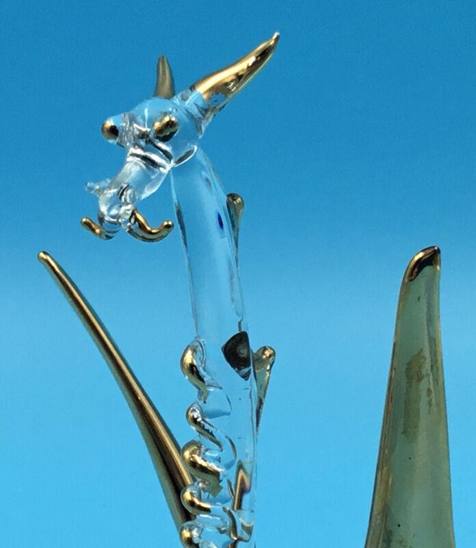 "6""Crystal Fantasy Dragon w/Gold Highlights ""Nessie"" Magical Blown Glass Figurine"