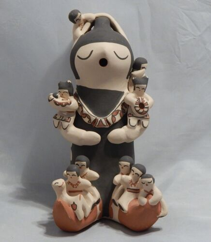 """Signed Storyteller Pottery Large 10 1/4"""" Figure Signed by Lupe Loretto Lucero"""