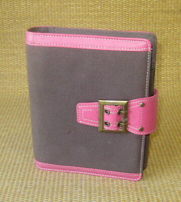 Compact 1 Rings Pinkbrown Fabric Sim Leather Franklin Covey Plannerbinder