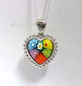 AUTHENTIC MURANO MULTI COLOR MILLEFIORI HEART PENDANT 8MP507 BY ALAN K