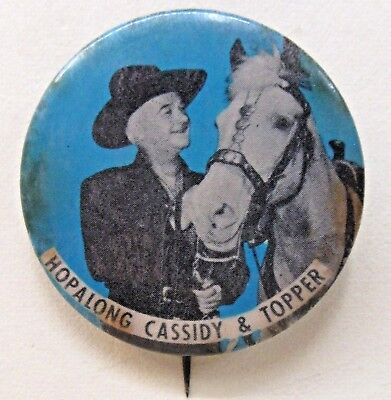 1950's HOPALONG CASSIDY & TOPPER Cowboy rodeo BLUE background pinback button ^