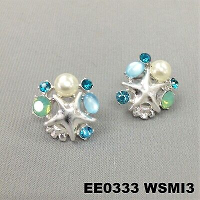 Sea Life Starfish Turquoise Rhinestone Pearl Design Silver Finish Stud - Turquoise Starfish Earrings