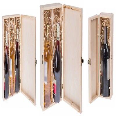 kbox mit Deckel und Schloss Weinkiste Holz für 1, 2, 3 Weine (Rosa Flasche Wein)