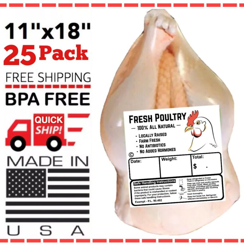 """POULTRY SHRINK BAGS 11"""" X 18"""" POULTRY PROCESSING FREEZER SAVER MADE IN 🇺🇸"""