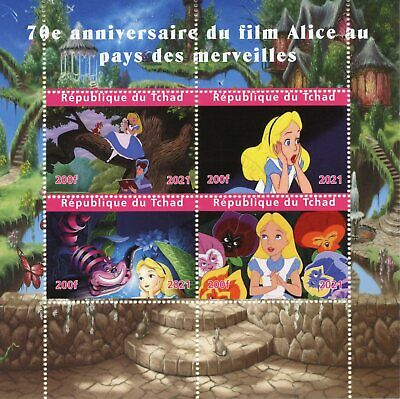 Chad Disney Stamps 2021 CTO Alice in Wonderland Cartoons Animation 4v M/S