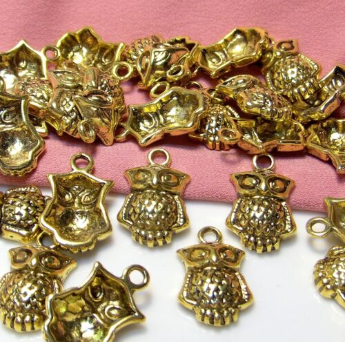 NEW LARGE LOT OF 50 GOLD METAL OWL CHARMS-DROPS-NATURE-WILDLIFE-BIRD-WOODLAND-