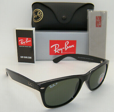 New Authentic Ray-Ban RB 2132 901/58 55MM Shiny Black / Green Crystal Polarized  Ray Ban Color