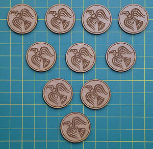 Fatigue Tokens for SAGA Dark Ages Skirmish Game. Viking Set with Engraved Raven