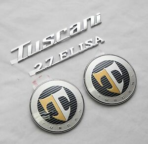 tuscani 2 7 elisa hood rear t logo emblem set 4pcs for hyundai tiburon coupe ebay. Black Bedroom Furniture Sets. Home Design Ideas