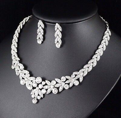 (Floral Clear Austrian Rhinestone Crystal Necklace Earrings Set Bridal Prom N20)
