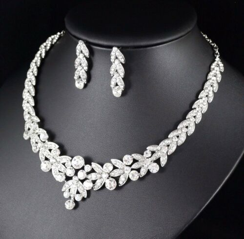 Floral Clear Austrian Rhinestone Crystal Necklace Earrings Set Bridal Prom N20