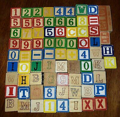 Vintage Wooden Blocks ABC Alphabet Numbers 123 - 76 Blocks