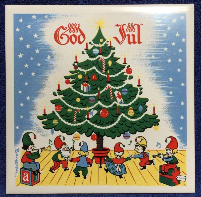 Merry Christmas Ceramic Tile-Trivet: Swedish GOD JUL - Elves dancing around Tree
