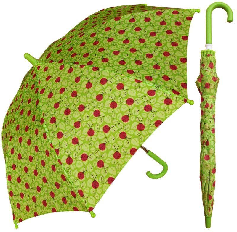 "32"" Arc Children Kid Ladybug Green Umbrella - RainStoppers Rain/Sun UV"