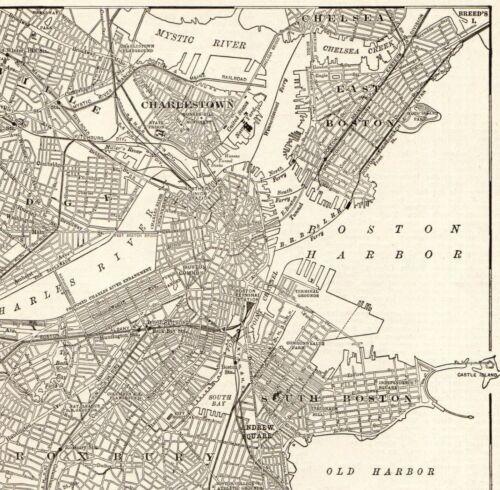 1908 Antique BOSTON Street Map Vintage City Map of Boston Massachusetts 8075