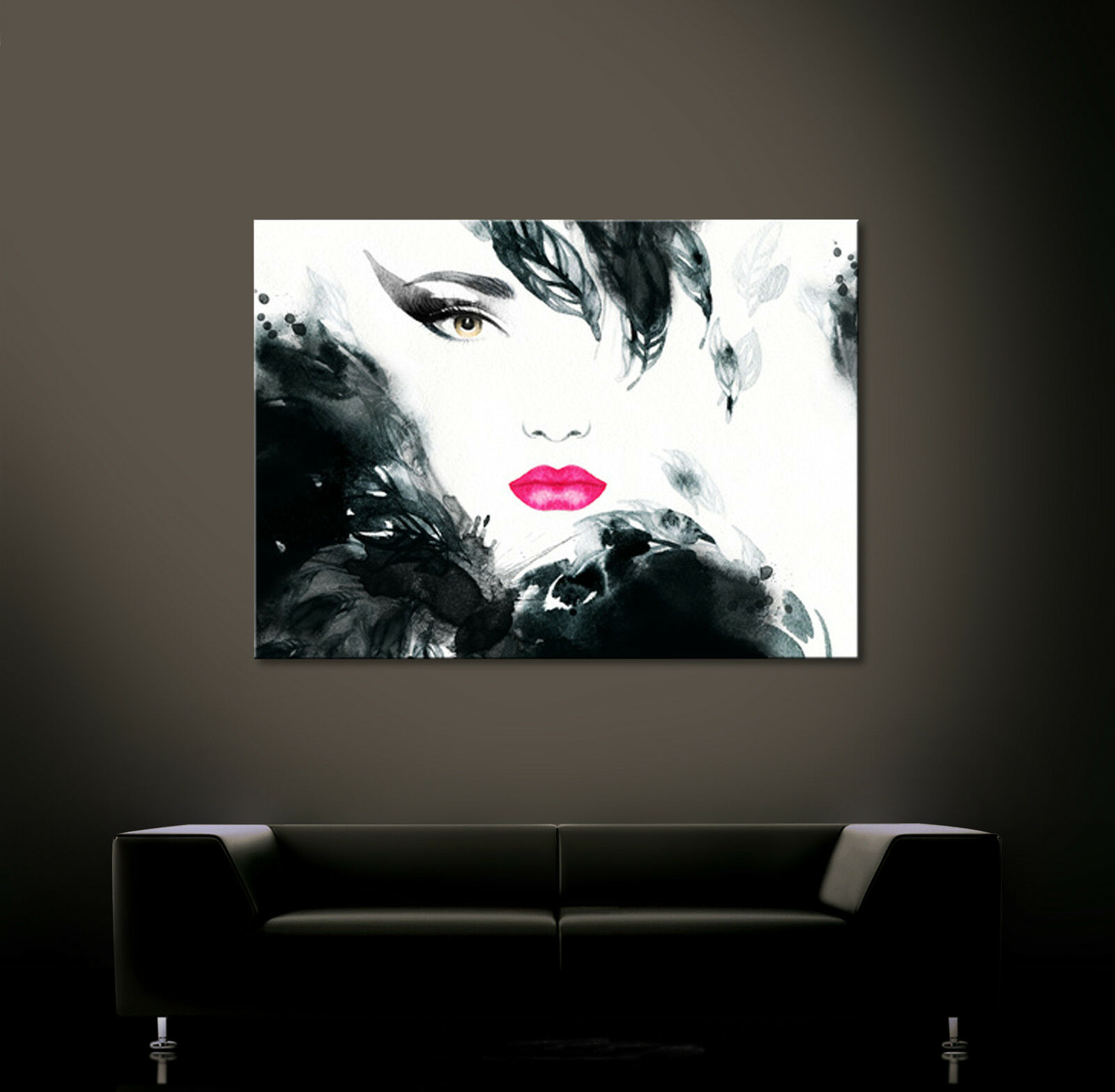woman portrait leinwand bild schwarz wei modern druck. Black Bedroom Furniture Sets. Home Design Ideas