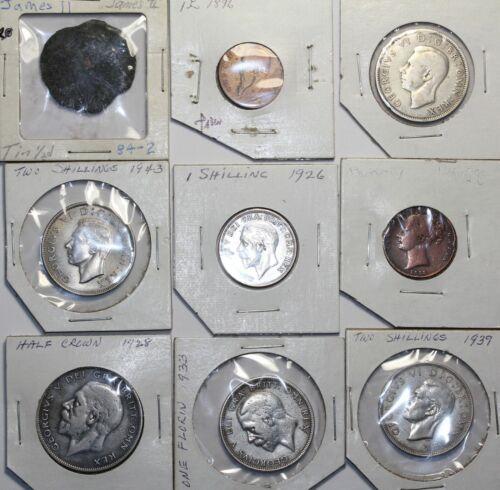 Mixed group 9 British Coins James Vlack Florin 2 Shillings 1/2 Crown token etc