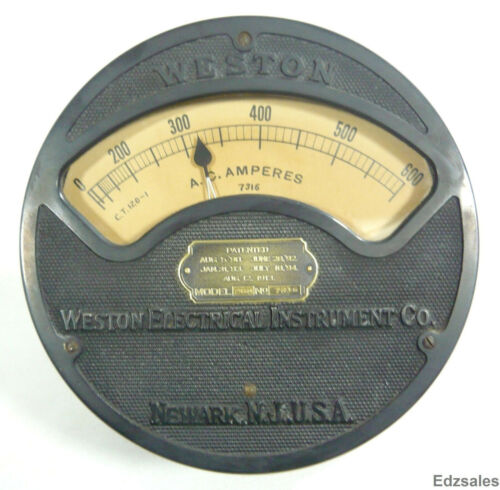Antique Large Weston Electrical AC Amperes Gauge Model 260
