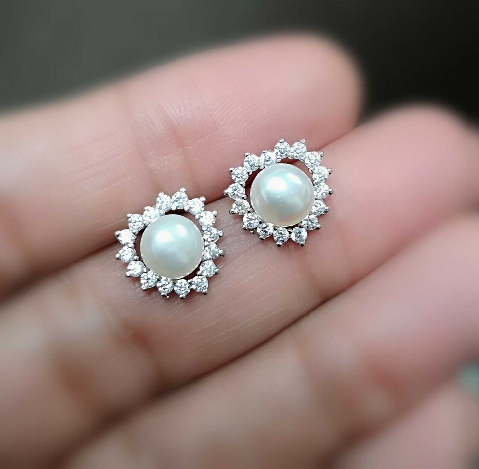 1Ct Diamond Earring with Pearl Womens Stud Earrings 14k White Gold over
