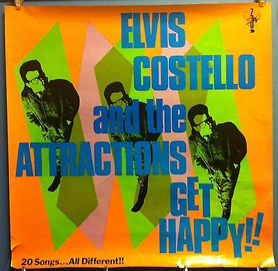 """Elvis Costello & The Attractions Get Happy 36""""x36"""" In Store 1980 Promo Poster"""