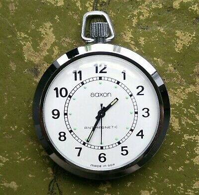 Men's Saxon Mechanical Hand Winding Pocket Watch Antimagnetic Clean & Tidy
