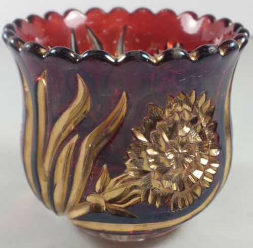 New Martinsville EAPG Carnation Pattern Ruby Stain Spooner W/ Heavy Gold