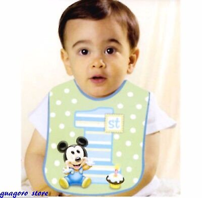 Mickey Mouse 1st Birthday Bib (Disney Baby Mickey Mouse 1st Birthday Bib Boy Green Polka Dot Party)