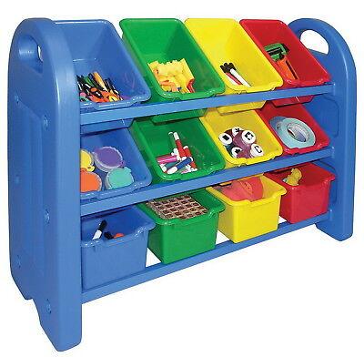 (New Plastic 3 Tier Toy Storage Toy Organizer 12 Bin Shelving Multi Color Box)