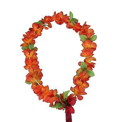 Orange Leis (Hawaiian Lei Party Luau Floral Princess Plumeria Silk Dance Flower Orange)