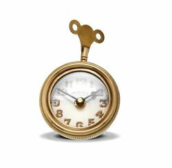 Retro Brass Pocket Watch Table Clock | Desk Vintage Antique Style Shelf Wind Key