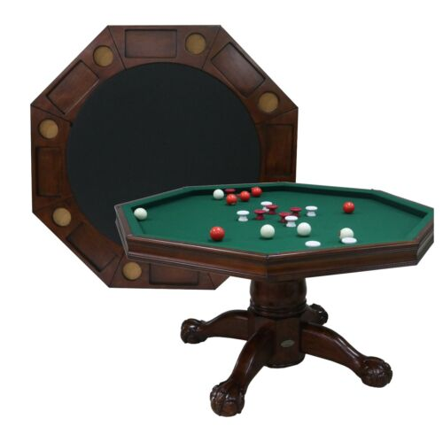 "54"" - 3 in 1 GAME TABLE: BUMPER POOL, CARDS & DINING in WALNUT ~BERNER BILLIARDS"