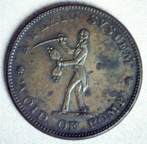 1834 Hard Times Token HTT Constitution Roman Firmness Plain Void Of Pomp XF