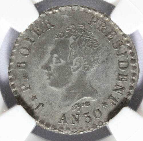 1833 (AN 30) Haiti 50 Fifty Centimes Silver Coin - NGC XF 45 Graded - KM# 20