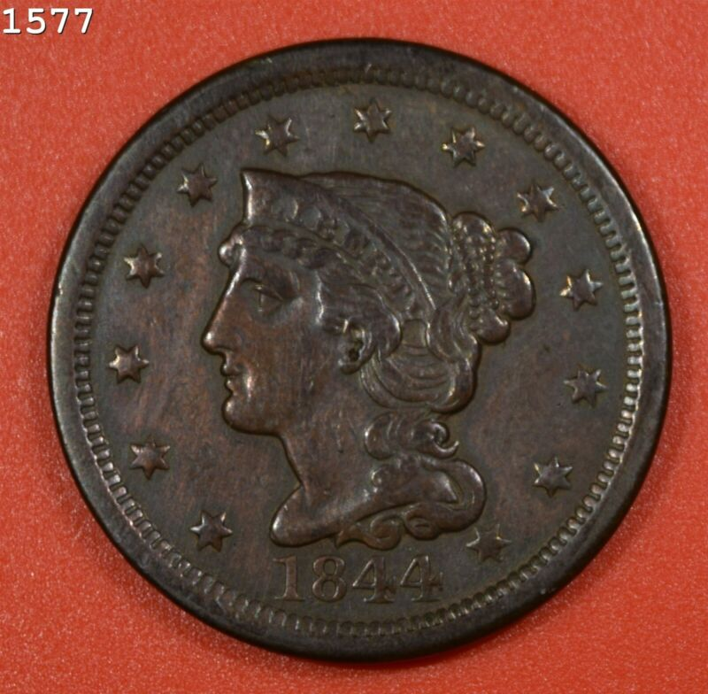"1844 Braided Hair Large Cent ""XF"" *Free S/H After 1st Item*"