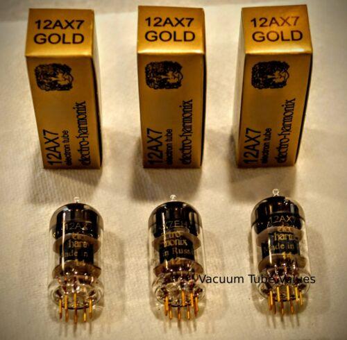 Electro-Harmonix GOLD TRIO THREE NEW  12AX7 12AX7EH Gold Pin Tubes