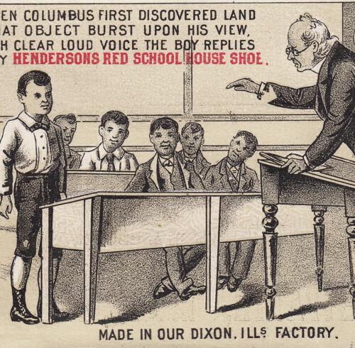Lenark IL Henderson Red School House Shoe Columbus poem Advertising Trade Card