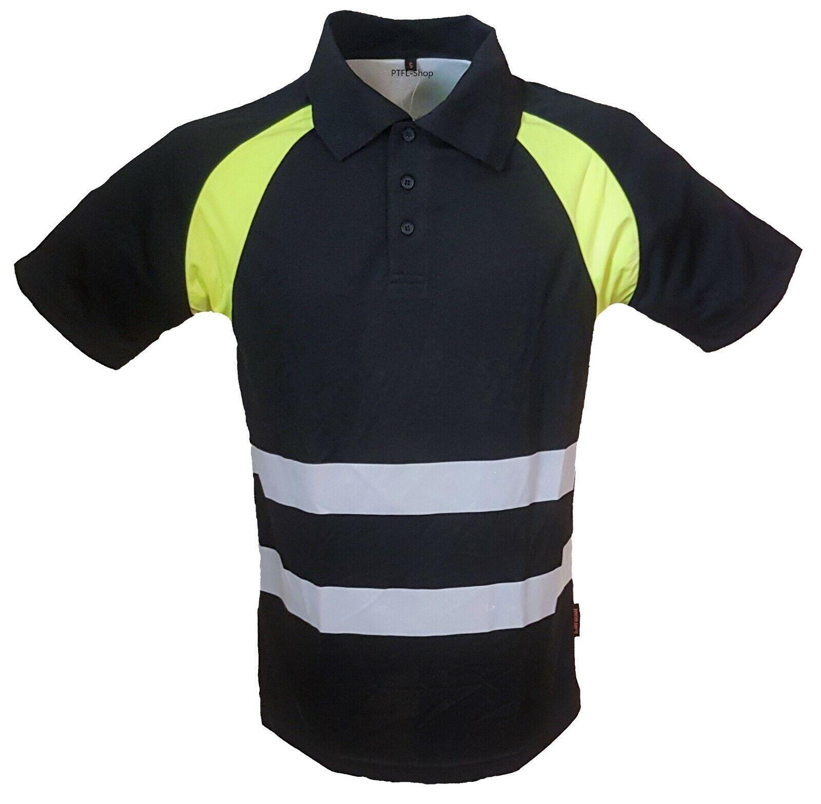 Warnschutz Polo Arbeits Shirt T-Shirt Poloshirt Warnshirt Schwarz/Gelb S-XXL