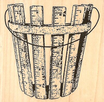 (WOODEN RULER BASKET Wood Mounted Rubber Stamp IMPRESSION OBSESSION D9810 New)