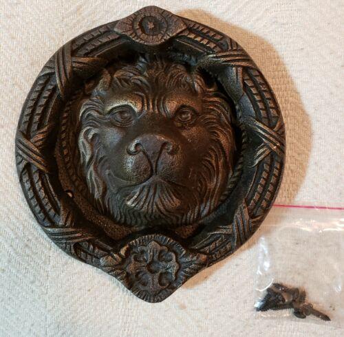 "Lion Face Door Knocker, 8"" Round, Reclaimed Brass"