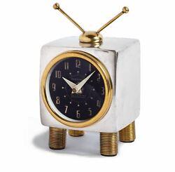 Retro Mid Century Modern TV Table Wall Clock | Desk Television Gold Silver Brass
