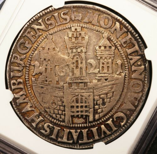 1621 Germany Hamburg City View Thaler Taler Silver Coin - NGC VF 35 - DAV-5364